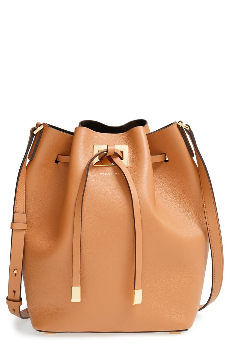 Obsessing over this Michael Kors leather bucket bag.
