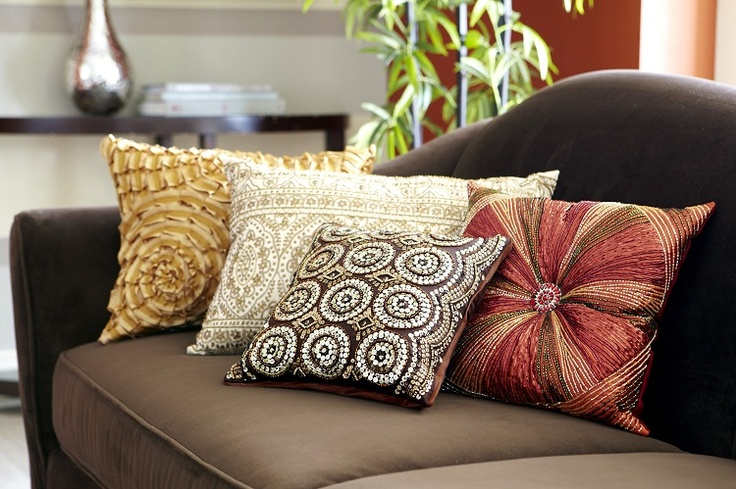 Pier 1 beaded pillows including the Bronze Sequin Circles, Beaded Sunburst and Gold Metallic Beaded Pillows