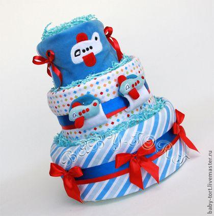 """Бэби-торт """"Крутые виражи. Авиа"""" - тёмно-синий,торт,торт из памперсов,торт из подгузников"""