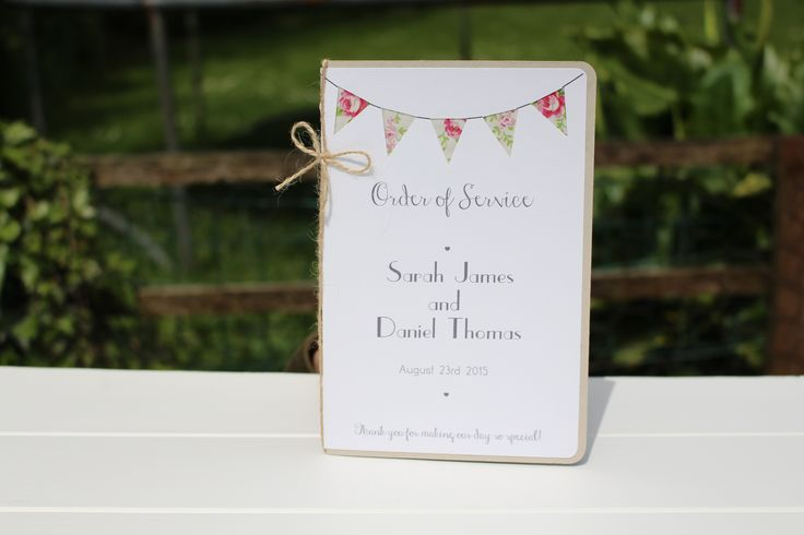 Wedding Booklet Order of Service - Bunting Program - Country cottage wedding program
