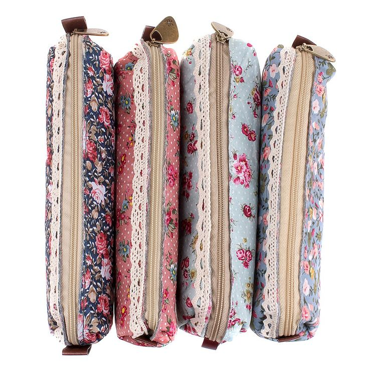 MERSUII Set of 4 Cute Sweety Floral Pen Pencil Bag Case Holder Cover Pouch Bag, School Office Accessories for Students Teens Boys and Girls