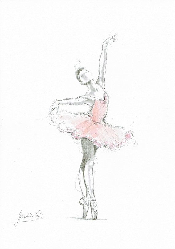 Ensemble De 4 Gravures Art De La Ballerine Ballerine Rose