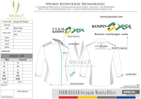 Baju Seragam PSDM Kospin Jasa, Pekalongan - Jawa Tengah - Indonesia | Baju Seragam PSDM kospin jasa ini di buat dengan warna dasar putih seperti desain di atas. Warna putih ini secara umum tidak memiliki konotasi negatif | model seragam kerja kantor warna putih abu abu