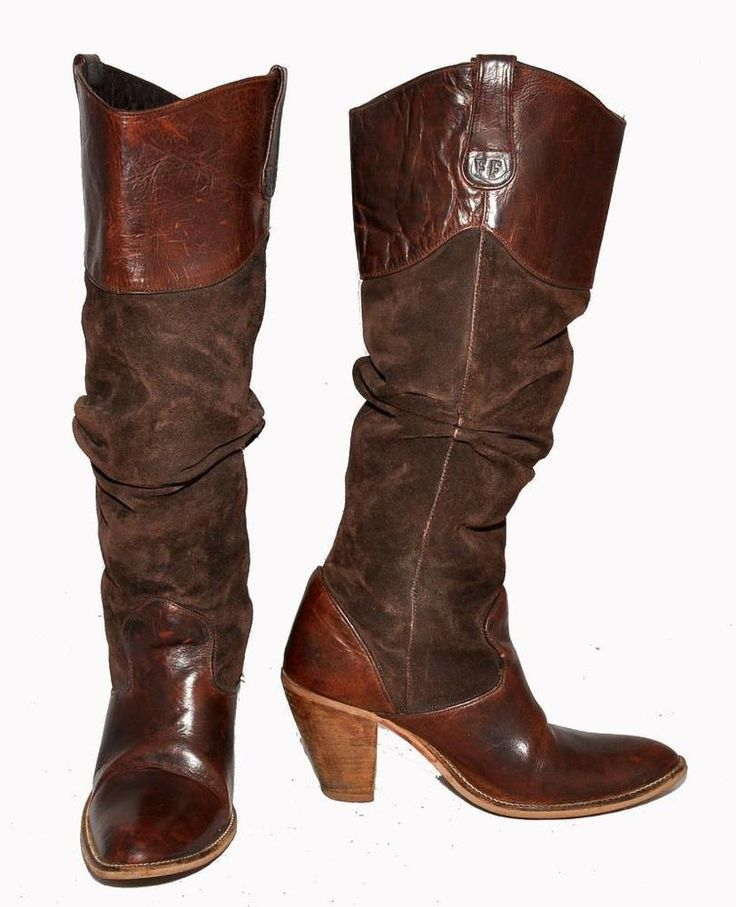FF Dark Brown Genuine Suede & Leather Knee Length Women's Western Boots Size 40