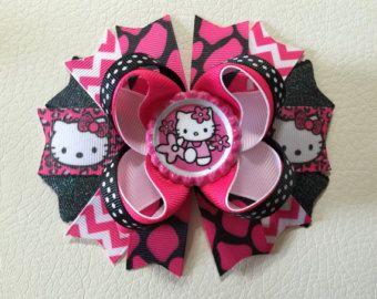Hello Kitty Hair Bow, Hello Kitty Hair Clip,Hello Kitty Boutique Hair Bow , Hello Kitty Stacked Hair Bows ,  Hello Kitty Hair Bows