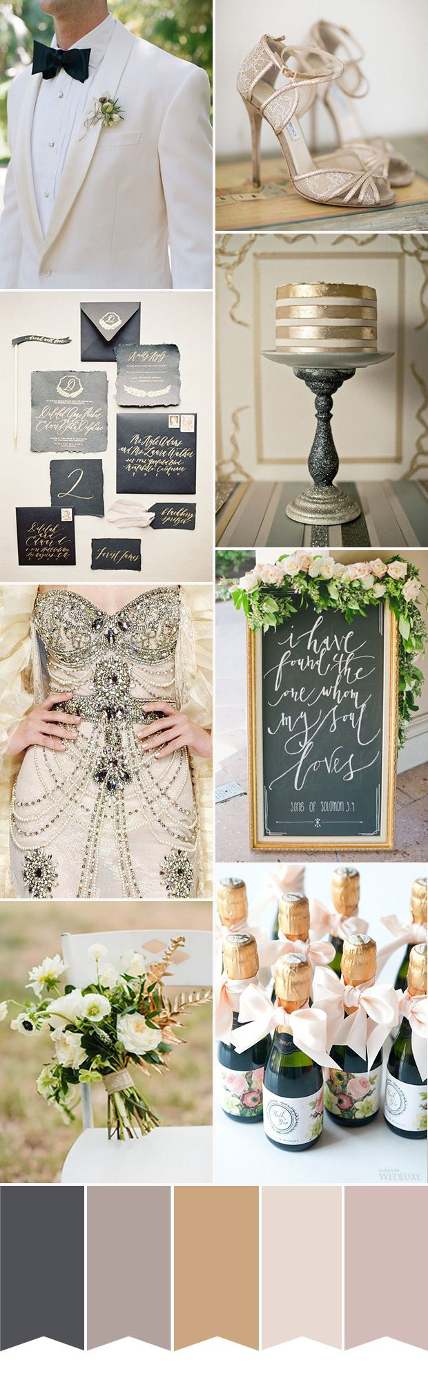 Luxe Wedding Colour Palette | www.onefabday.com | #Black #Gold #Wedding