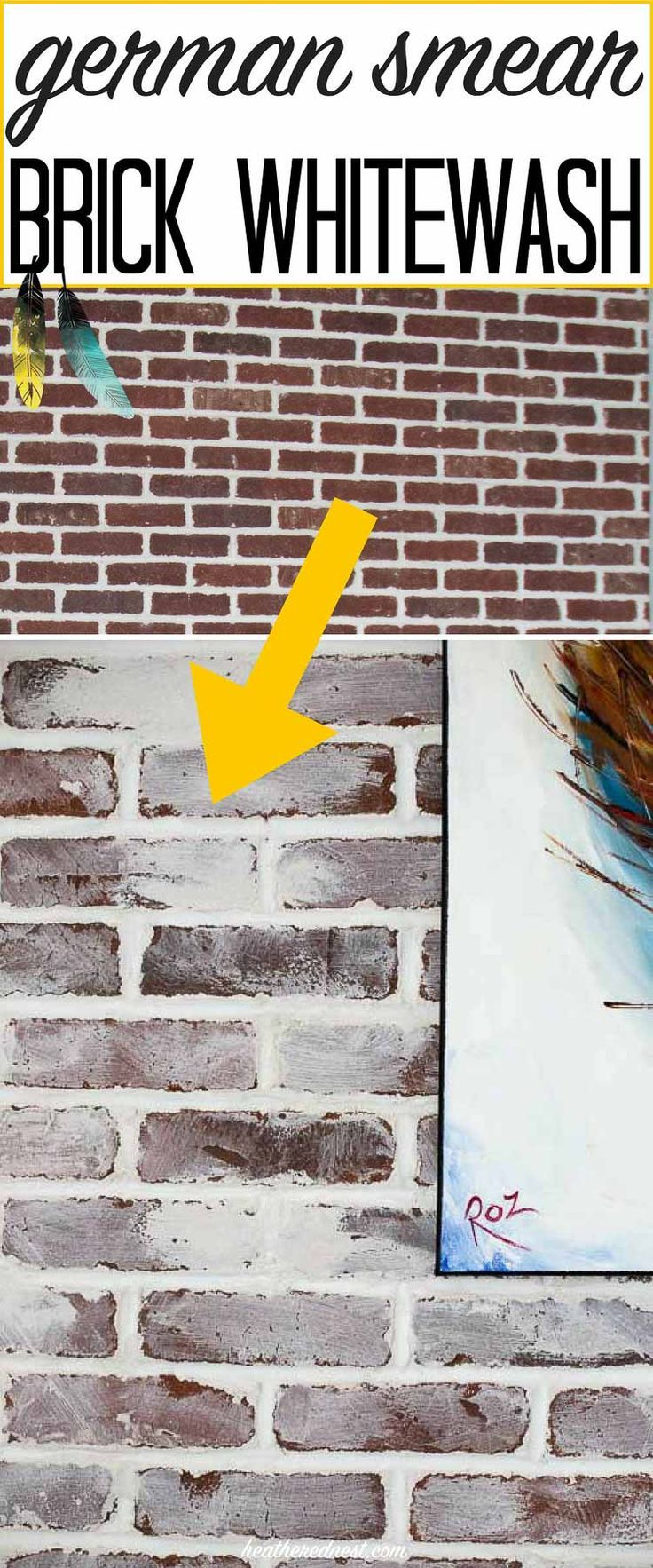 "How to do a german smear or ""mortar wash"" DIY brick whitewash on your brick fireplace or other brick surfaces. This DIY project is inexpensive & easy to do!"