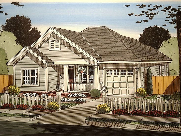 059H 0157: Small Ranch House Plan With Split Bedrooms; 1187 Sf