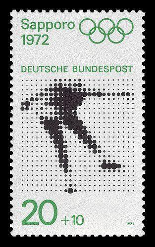 Kohei Sugiura / Deutsche Bundespost / 1972 Winter Olympics / Sapporo / Stamp / 1972