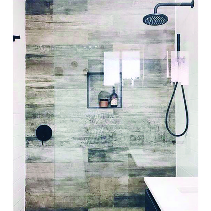 Timber tile feature wall with black details to compliment.   Regram from @aka_kirara   #nationaltiles #regram