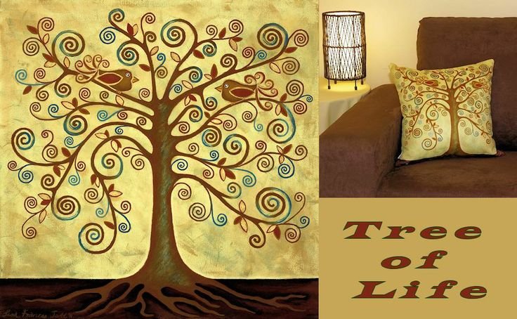 Tree of Life acrylic painting by Blue Mountains Artist, Lisa Frances Judd. Original long sold BUT you can get this awesome art print on cushions, wall canvases, art greeting cards, poster prints and even wearable art pendants at: www.quirkyhappyart.com.au