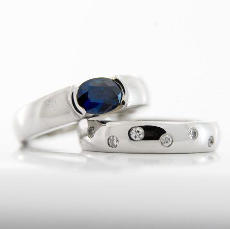 Sapphire Partial Rubover Engagement Ring and Diamond Shot-set Palladium Band