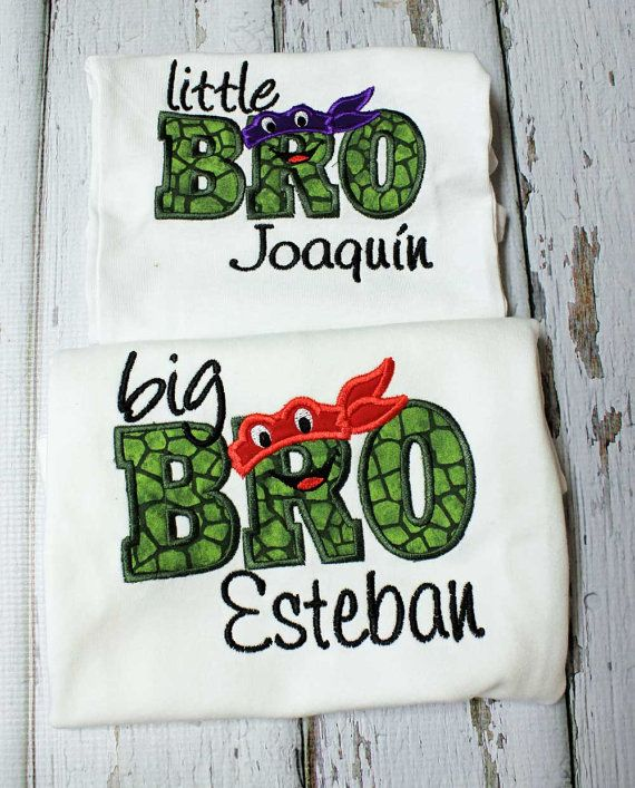 Turtle Big Brother Little Brother Shirts Sibling by TiptopKidsTees