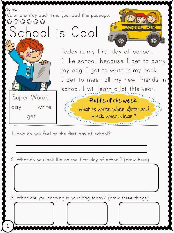 Classroom Freebies Too: Back to School Reading Comprehension Freebie