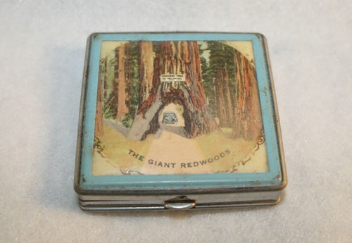 Vintage Giant Redwoods Souvenir Square Makeup Powder Compact | eBay: Viviann Schwartz Compact, Compacts Gi Redwood, Powder Compact, Antique Compacts