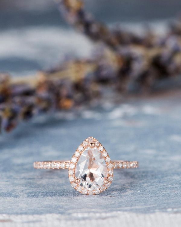 Holiday Gift Ideas for Couples - ad - Pear Shaped Topaz Halo Engagement Ring