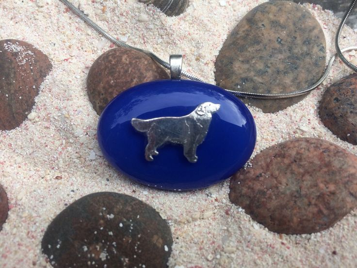 Golden Retriever Fused Glass and Silver Pendant by CrystalCaveGlassArt on Etsy