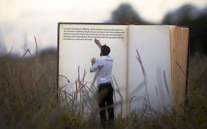 трава, книга, человек