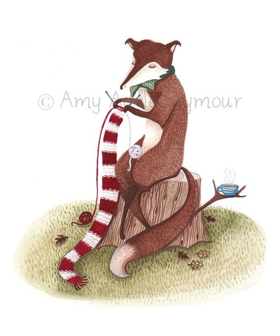 Fox Knitting // A4 Illustration Print by AmyAdeleIllustration
