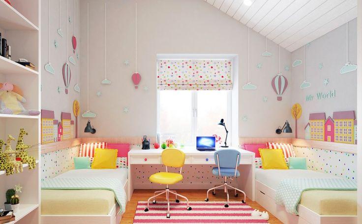 Дизайн детской комнаты для двоих детей: 70+ избранных идей и секреты создания гармоничной обстановки http://happymodern.ru/dizajn-detskoj-komnaty-dlya-dvoix-detej-foto/ Зеркальное расположение кроватей, с установленным рабочим столом между ними под окном