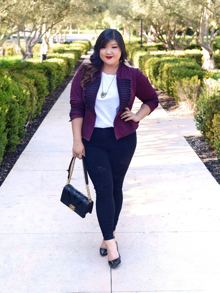 Curvy Girl Chic Torrid Plus Size Military Jacket with Black Distressed Skinny Jeans Chanel Chevron Le Boy Bag and Nine West Pumps