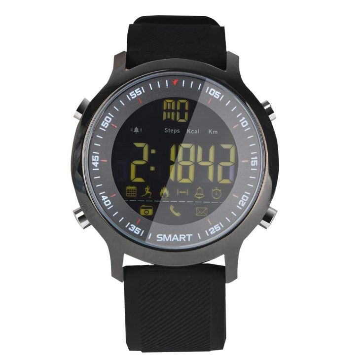 Smart Watch Depometer IP67 Waterproof Watch Remote Control Message Reminder for IOS Android (Black). Luminous Dial:Night sky green subtitles,deep soft,seamless.FSTN full view,cold light source. Support Bluetooth 4.0:Support IOS and Andorid. Battery Life:Normal life for 8 months,saving mode can be sustained for 12 months.Farewell to the embarrassing day of a digital age. Message Reminder:Various social chat messages to remind include facebook,twitter,whatsapp,skype. Waterproof:50m...