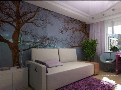 Landscaping and Interior Decoration: Tree Wallpaper in Drawing Room