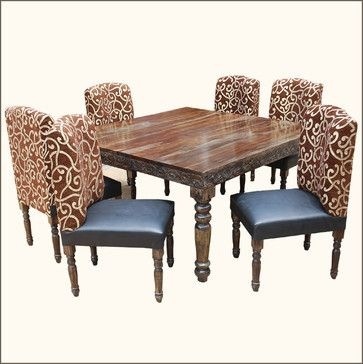 This Governors Leather Chairs Hand Carved Dining Table Set Is Built From Solid Wood By