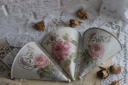 """Подвесное кашпо """" Винтаж"""" (набор из 3-х шт) - бежевый,шебби,розы,винтаж"""