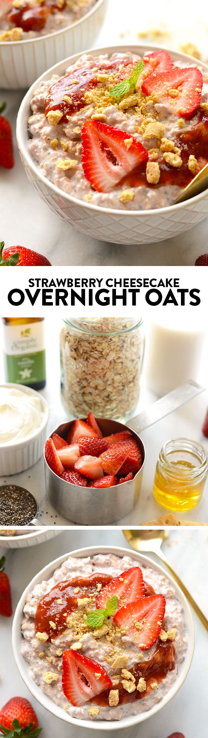 Dessert for breakfast? YES! Make these healthy strawberry cheesecake overnight oats for a healthy and filling breakfast!