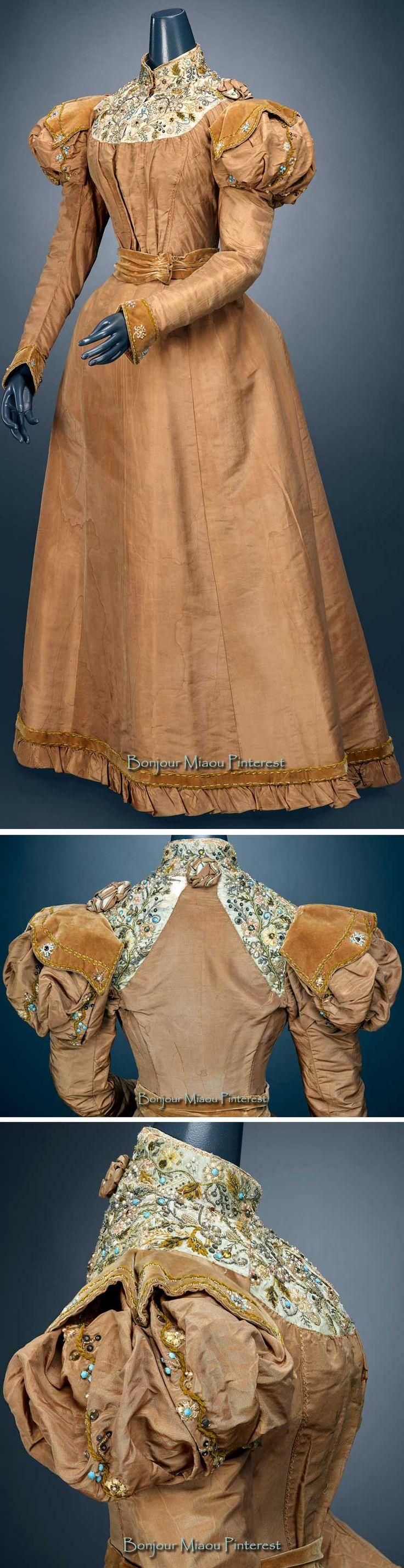 Dress, Mme. De Latour, New York, ca. 1888–92. Silk taffeta, silk velvet, chenille silk, pearl, metal sequins, glass bead embroidery. Indianapolis Museum of Art