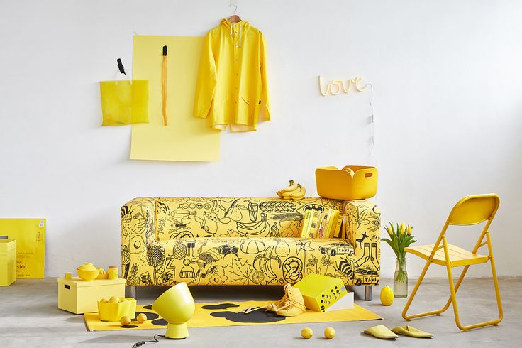 ARTEFLY Ikea Klippan cover YELLOW - interior styling / get rid of your yellow streak and give your interior a new air of mellow #artefly #klippan #sofa #cover #slipcover #ikea #cotton #throw #couch #2seater #seater