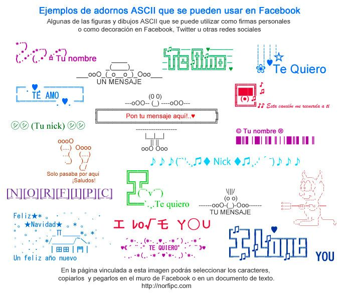 Ejemplos de adornos ASCII que se pueden usar en Facebook. Figuras y dibujos ASCII que se puede utilizar como firmas personales o como decoración en Facebook, Twitter u otras redes sociales. En la página vinculada a esta imagen podrás seleccionar los caracteres, copiarlos  y pegarlos en el muro de Facebook o en un documento de texto.
