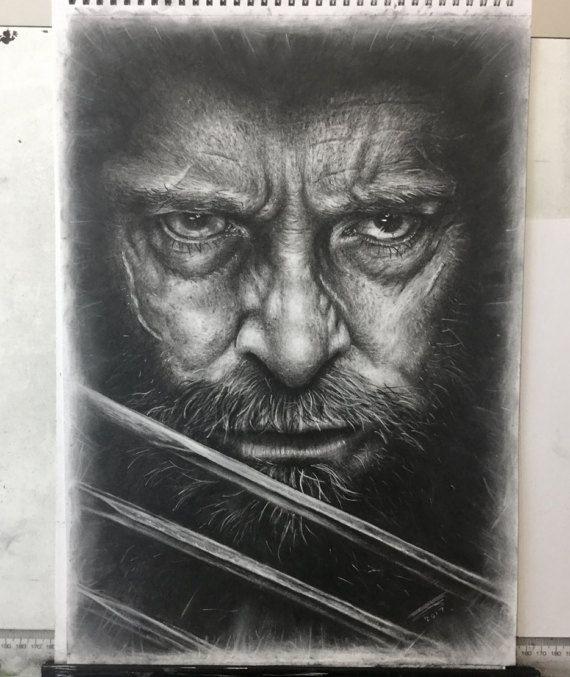 Hugh Jackman as Old Man Logan charcoal drawing