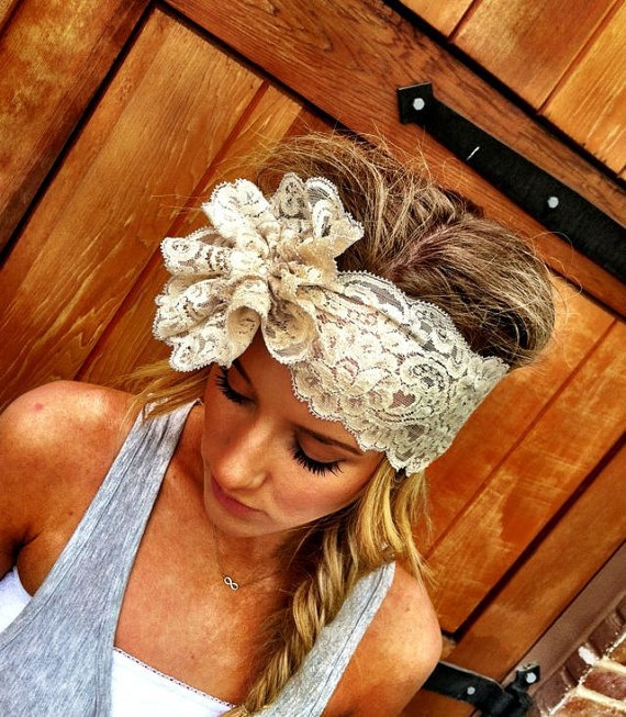Mrs. I Do Lace Wide Lace Headband Black and Silver Bridal Wedding Head band Rosette and Pearls. $28.00, via Etsy.