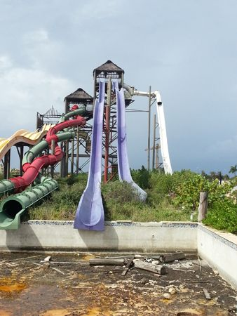 Morgan's Island abandoned Water Park, Eagle Beach, Aruba. Opened in 2008. The park closed in 2010 due to some accidents that occurred on the purple water slide.