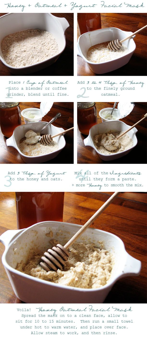 diy honey oatmeal facial mask---my sister and i used to do these together--makes your face feel so healthy and soft