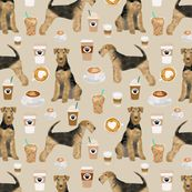 airedale terrier dog fabric cute dogs coffee dogs fabric coffee fabric by petfriendly