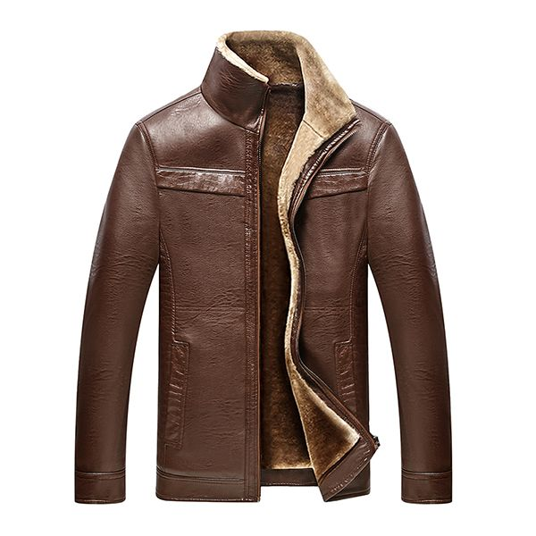 Casual Business Inside Fleece Thicken Solid Leather Jackets for Men is Stylish-NewChic Mobile