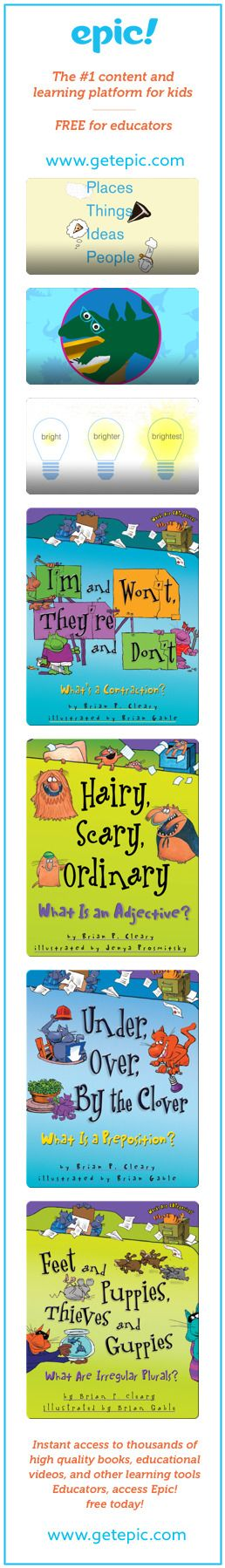 Parts of Speech - Titles in this collection: Nouns, Verbs, Adjectives, I'm and Won't, They're and Don't: What's a Contraction?, Hairy, Scary, Ordinary: What is an Adjective?, Under, Over, By the Clover: What is a Preposition?, Feet and Puppies, Thieves and Guppies, But and For, Yet and Nor: What is a Conjunction?, Th