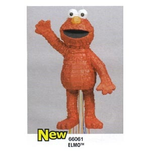 "Elmo Pinata. Pull Pinata   20.5"" x 12"" wide  All pinatas are sold empty  We also have pinata fillers and blindfolds."