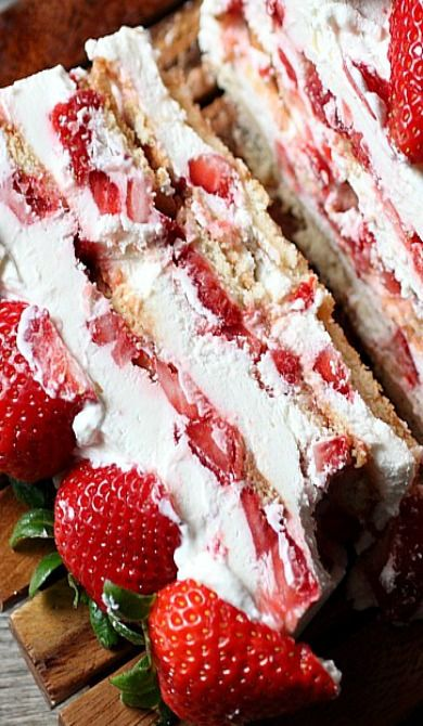 Strawberries and Cream Icebox Cake- scroll past list of recipes
