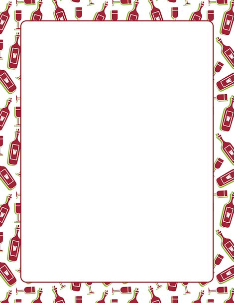 A page border with wine bottles and glasses. Free downloads at http://pageborders.org/download ...