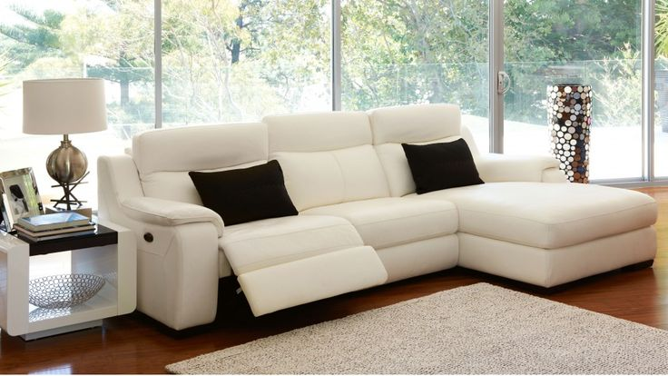 Longmont Powered Leather Lounge with Chaise - Lounges - Living Room - Furniture, Outdoor & BBQs | Harvey Norman Australia