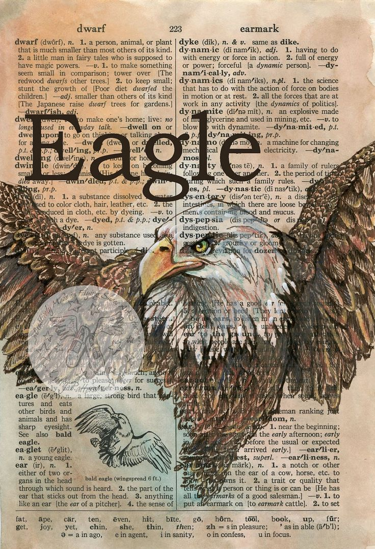 Print Eagle Mixed Media Drawing On Distressed By Flyingshoes