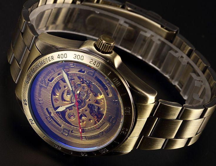 Hot Sale Antique Automatic Skeleton Mechanical Watch Men Bronze Steampunk Retro Leather Analog Wrist Watches Horloges Mannen