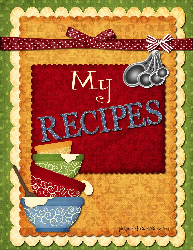 Printable Recipe book dividers- copy the image, paste in Word, print.