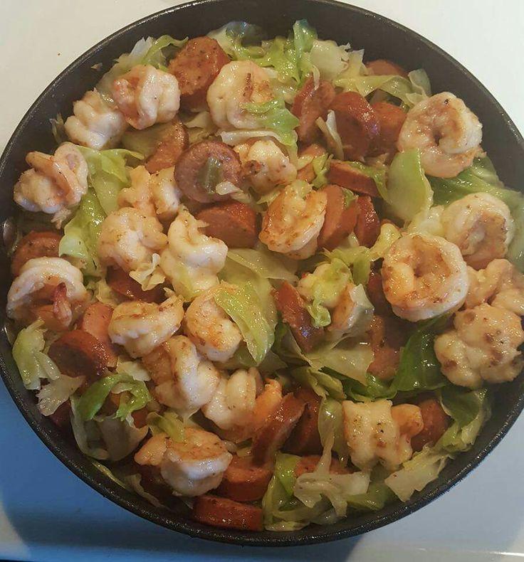 Cabbage, Shrimp and Sausage Stir Fry
