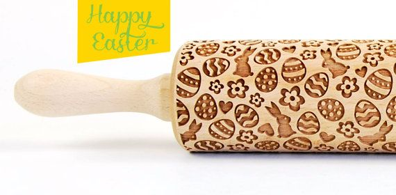 Happy Easter 1 - Embossing Rolling pin, engraved rolling pin