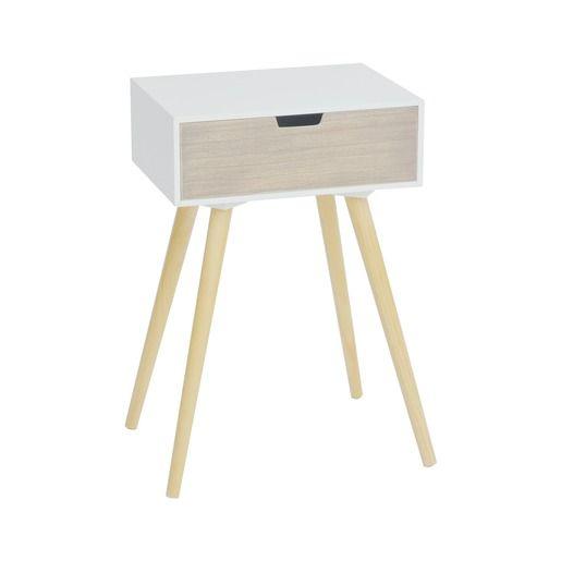Table de chevet 1 tiroir - 40 x 30 x H 61 cm - Blanc, gris